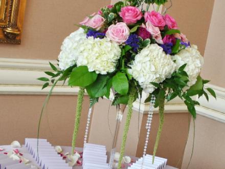 White Hydrangea, Pink Roses